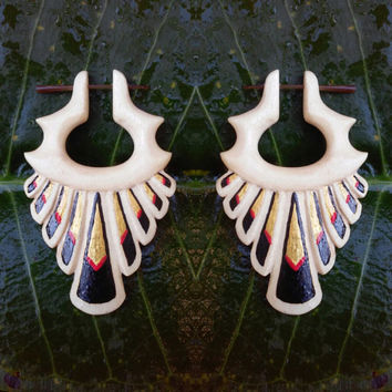 "Post stick earrings, ""Devil Wings"", Fake gauges 18g Earrings Hand carved earrings Tribal wooden earrings."