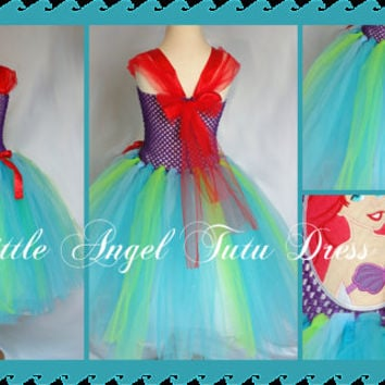 Ariel The Little Mermaid Tutu Dress - handmade fancy dress costume - Purple, Red, Blue and Green Tutu Dress Age 2 3 4 5 6 7 8 9 10 11