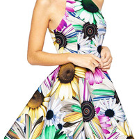 Sunflower Print Skater Dress