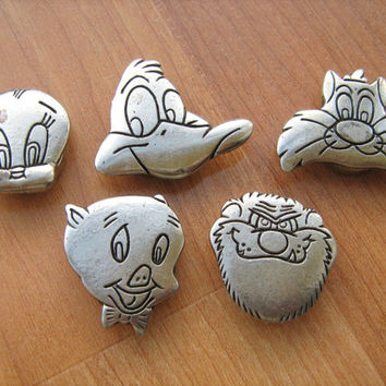Button Covers 5 Looney Tunes Warner Bros cartoon characters vintage 1993