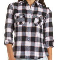 Long Sleeve Plaid Flannel Button-Up Top - Black Combo