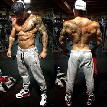men cotton Brand Black red embroidery joggers Sweatpants Casual fashion trousers male gyms Fitness Bodybuilding workout Pants