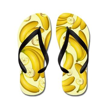 BANANA FRUITY PATTERN FLIP FLOPS