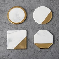 Nordic wind marble Gold Plated Ceramic Coaster Mug Mat Heat Resistant Coffee Cup Pad home decorative