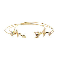 Anna & Ava Delicate Heartbeat Cuff Bracelet - Gold/Crystal