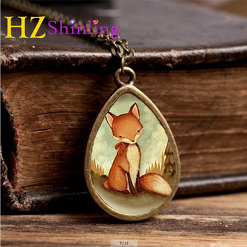 2017 New Red Fox Necklace Woodland Creature Jewelry Tear Drop Pendant Animal Art Glass Necklaces Gifts Women