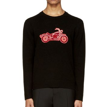 Marc By Marc Jacobs Black Motorcycle Appliqu Sweater