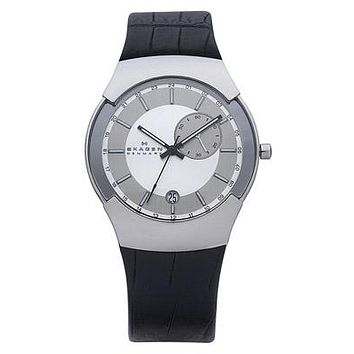 Skagen Mens Executive Black Label - Dual Time - Silver Dial - Black Leather Stap
