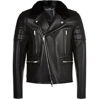 Burberry London Marlon Nappa Leather Jacket with Mink Collar