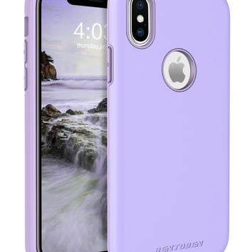 iPhone X Case, iPhone X Case Hard, BENTOBEN Shockproof Slim 2 in 1 Dual Layer Hybrid Hard PC Flexible TPU Rugged Basic Protective Phone Case Cover for iPhone X, Purple