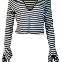 Shrine Women's Gothic Necro Vampire White Black Tanker Stripe Top Shirt