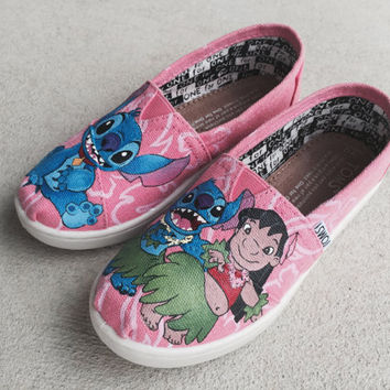 Custom Hand Painted Shoes - Lilo and Stitch