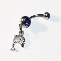 Dolphin Belly Button Ring, Navel Ring, Ocean, Beach Jewelry, Belly Piercing
