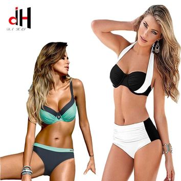 DA HAI 2017 New Sexy Bikinis Women Swimsuit High Waisted Bathing Suits Swim Halter Push Up Bikini Set Plus Size Swimwear 3XL