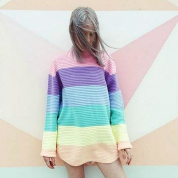 Women Rainbow Sweater Maccaron Color Stripes Loose Pullover 2018 Spring Autumn New Fashion Urtleneck Knit Jumpers Tumblr Female