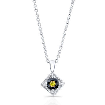 Ladies 18kt white gold vintage antique black diamond pendant with yellow diamond insert