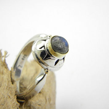 Gold and silver ring labradorite stone sterling silver yellow 14k gold handmade ring size 6.5