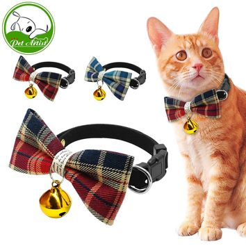 *Cute Plaid Pet Bell Collar For Cats