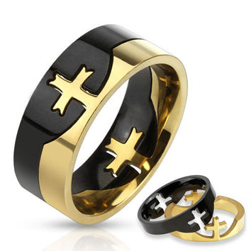 8mm Cross Puzzle Two Tone Black & Gold Ring Stainless Steel Fashion Ring