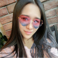 Heart rimless sunglasses
