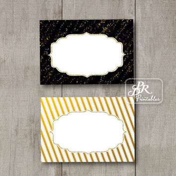Gold Foil Food Tent Cards, Printable Buffet Labels,  Blank Party Printables, DIY Place Cards, Wedding Food Cards, Bling Bling