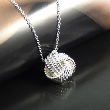 VALEN BELA Silver Plated Women Pendant collares Rose Ball Slide Fashion Chain Necklaces Jewelry Accessories Jewellery XL1101