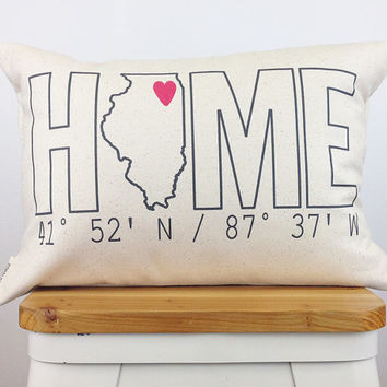 Home Coordinates State Pillow, Housewarming Gift, Home Pillow, Custom Pillow, Personalized Gift, Graduation Gift, Dorm Decor