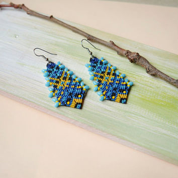 Blue yellow macrame earrings, hedgehog, boho earrings, macrame jewelry, unique gift for her, ethnic, free spirit, Ukrainian colors, unique