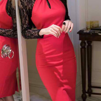 Red Sheer Lace Long Sleeve Midi Dress