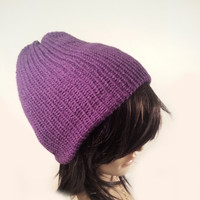 Womens Purple Hat, Purple Beanie, Women's Beanie, Womens Knit Hat, Beanie Knit Hat,Custom  beanie, Solid color Hat, womens hat,Mauve hat