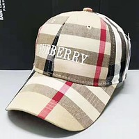 Burberry Fashion New Plaid Embroidery Letter Women Men Cap Hat Apricot