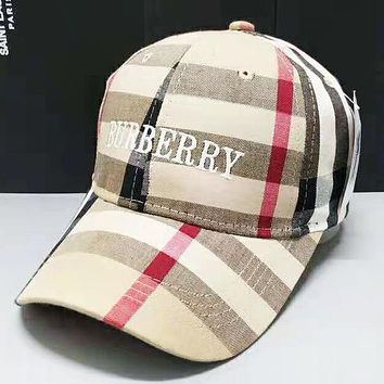24aea678af7 Burberry Fashion New Plaid Embroidery Letter Women Men Cap Hat A.