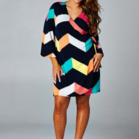 Plus Size Multicolored Chevron Wrap Around Dress