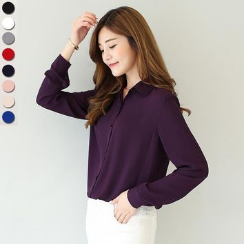 Women Solid Color Button Down Chiffon Shirt