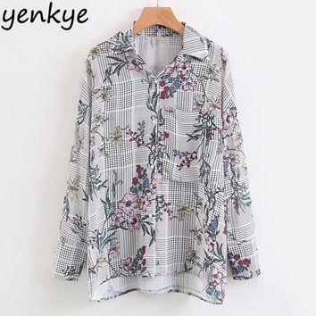 Women Vintage Floral Printed Blouse Shirt Long Sleeve Turn-down Collar Pocket Casual Plaid Blouse Work Wear Ladies Shirts