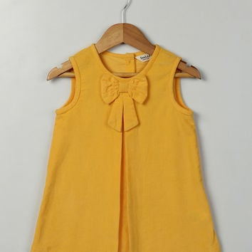 Beebay Yellow Bow Corduroy Dress - Infant & Toddler | zulily