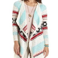 Aztec Slub Knit Cascade Cardigan by Charlotte Russe - Ivory Combo