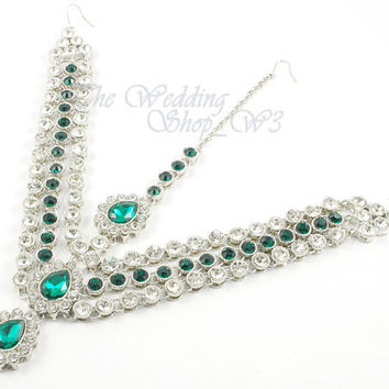 Silver Green & Clear Kundan Stone Matha Patti Tikka Head Chain Bollywood Jewelry Grecian Hijab Jewellery Bridal Wedding Parties Prom MP01