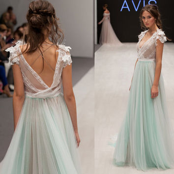 Wedding dress ANSEL, mint wedding dress, beach wedding dress, bohemian wedding dress, mint, grey , powder, body