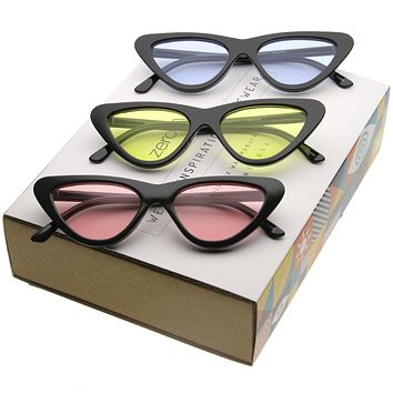 245f91fc0a84 Women's Retro 1990's Color Tone Flat Lens Cat Eye Sunglasses .