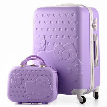 14+28Inch,Hello Kitty Travel Suitcase,Makeup Bag,ABS Spinner,Cartoon,Trolley Bag,Luggage Sets,rolling luggage,maleta de viaje