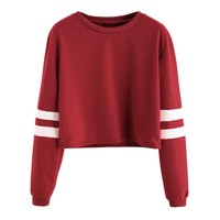 Varsity Striped Sleeve Crop T-shirt Burgundy