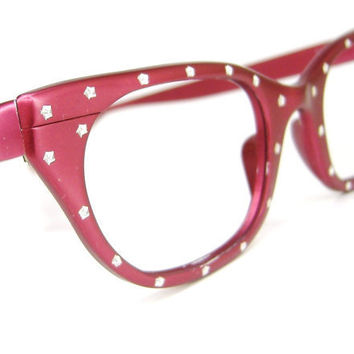 Vintage 50s Hot Pink Cat Eye Eyeglasses by Vintage50sEyewear