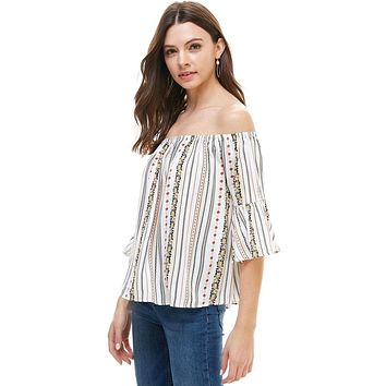 Ethnic Floral Printed Off The Shoulder Ruffle Sleeve Top