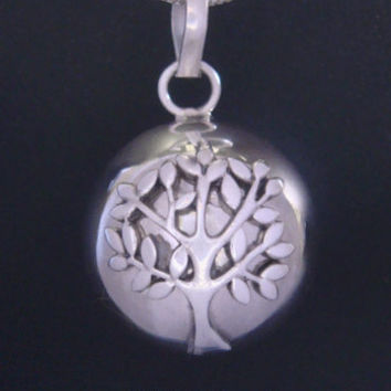 Unique Tree of Life Necklace Harmony Ball with a 925 Sterling Silver 'Tree of Life' on a Highly Polished 925 Sterling Silver Ball | TOL004