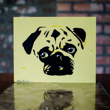 Pug Painting - Yellow Pop Dog Wall Art Pet Painting - Original Artwork on 8x10 Art Board