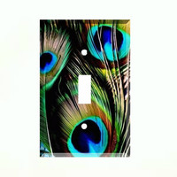 Switch Cover  - Light Switch Plate Peacock Feathers