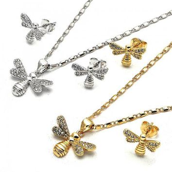 Gold Layered Earring and Pendant Adult Set, Bee Design, with Micro Pave, Golden Tone