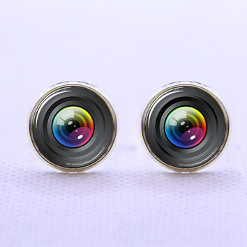 Camera Lens Cufflinks  -Mens Silver Plated Cufflinks,Accessoires for Man-Mens Gift ,Gift for Daddy ,Best Man