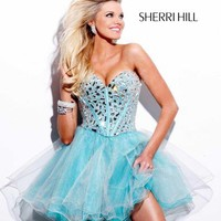 1403  Stunning minidress with gauzy skirt and metallic bodice by Sherri Hill Bravura Pageant, Prom, Bridal and Formalwear Boutique - Prom 2009 Superstore